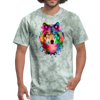 Watercolor wolf t-shirt - Animal Face T-Shirt - military green tie dye