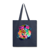 Watercolor lion tote bag - navy
