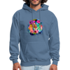 Lion with mane hoodie - Animal Face Hoodie - denim blue