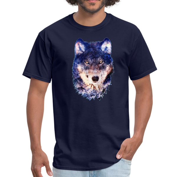 Wolf  t-shirt - Animal Face T-Shirt - navy