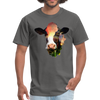 Holstein cow t-shirt - Animal Face T-Shirt - charcoal