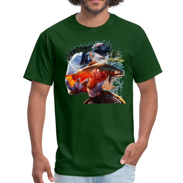 River trout t-shirt - Animal Face T-Shirt - forest green