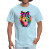 Watercolor wolf t-shirt - Animal Face T-Shirt - powder blue