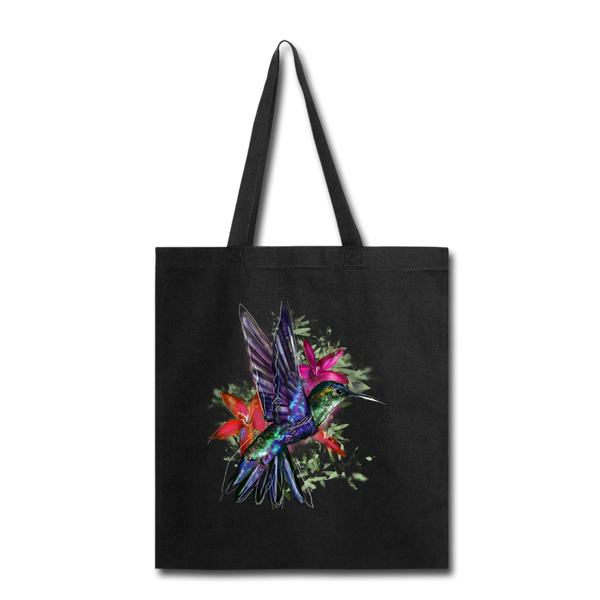 Flying Hummingbird Tote Bag - black