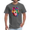 Watercolor wolf t-shirt - Animal Face T-Shirt - charcoal