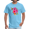 Hummingbird with flowers t-shirt - Animal Face T-Shirt - aquatic blue