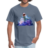 Great White Shark with surfer T-Shirt - Animal Face T-Shirt - denim