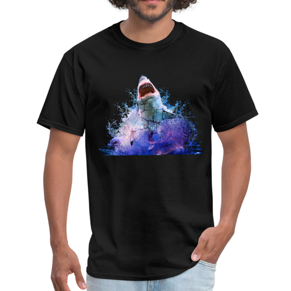 Great White Shark with surfer T-Shirt - Animal Face T-Shirt - black