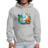 Fox with river hoodie - Animal Face Hoodie - heather gray