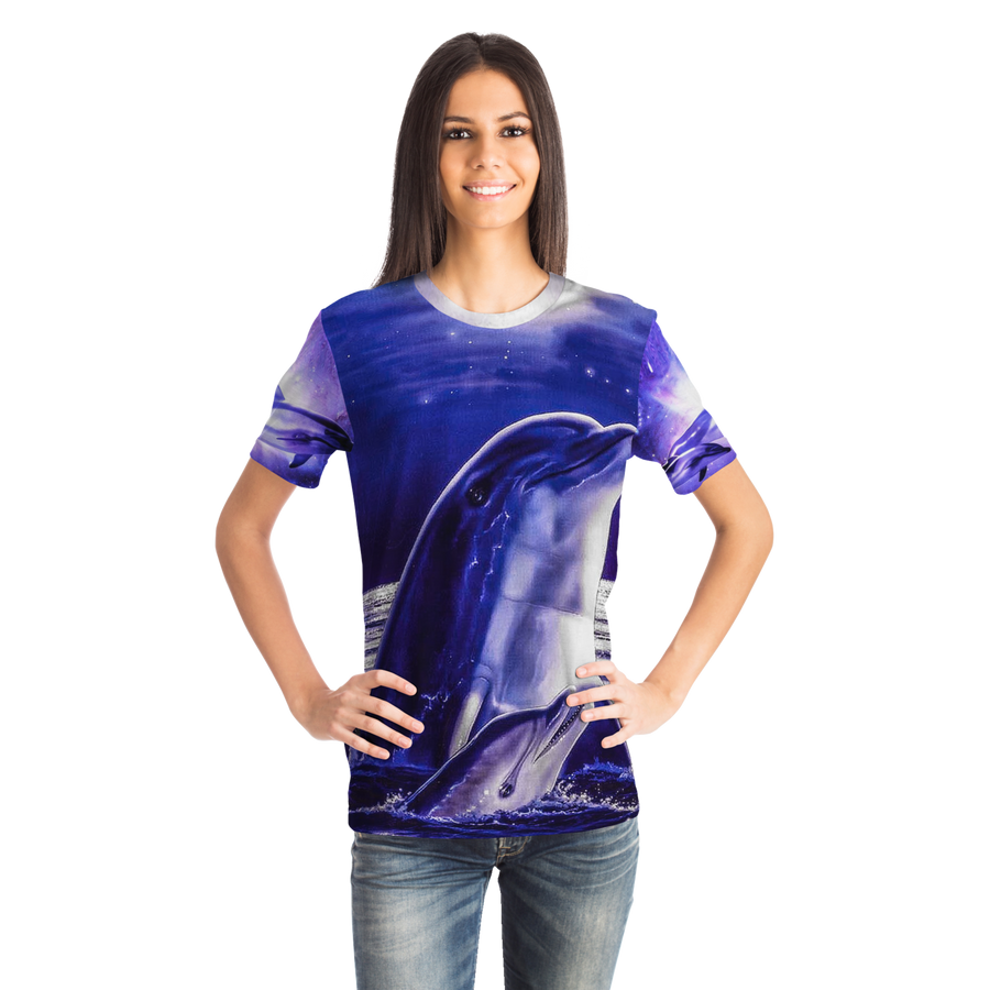 Dolphins by the moon Unisex All over print t-shirt