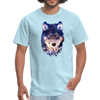 Wolf  t-shirt - Animal Face T-Shirt - powder blue