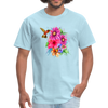 Hummingbird with flowers t-shirt - Animal Face T-Shirt - powder blue