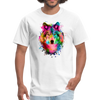 Watercolor wolf t-shirt - Animal Face T-Shirt - white