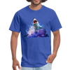 Great White Shark with surfer T-Shirt - Animal Face T-Shirt - royal blue