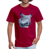 Nothern Lynx t-shirt - Animal Face T-Shirt - dark red