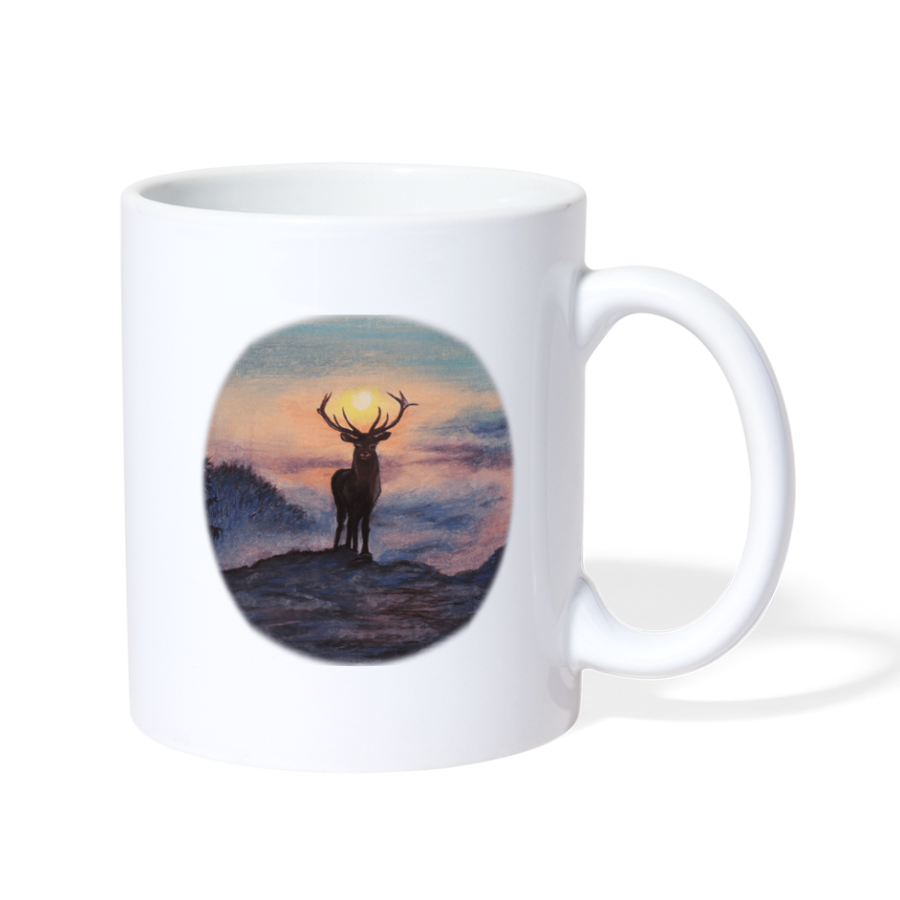 Deer with hazy sun Coffee/Tea Mug - white