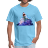 Great White Shark with surfer T-Shirt - Animal Face T-Shirt - aquatic blue