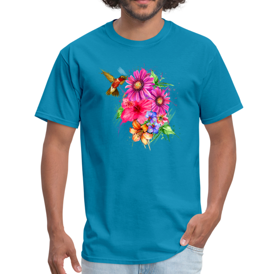 Hummingbird with flowers t-shirt - Animal Face T-Shirt - turquoise