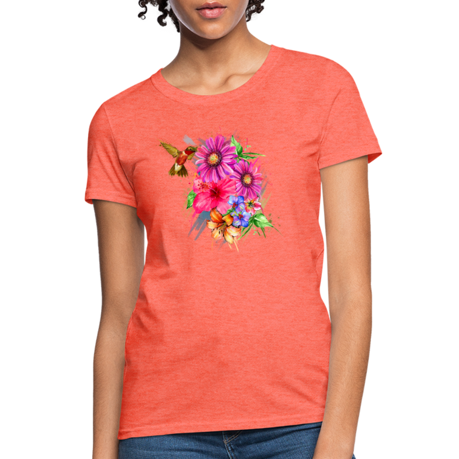 Hummingbird with flowers Women's T-Shirt - heather coral