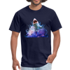 Great White Shark with surfer T-Shirt - Animal Face T-Shirt - navy