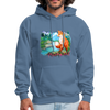 Fox with river hoodie - Animal Face Hoodie - denim blue