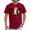 Holstein cow t-shirt - Animal Face T-Shirt - burgundy
