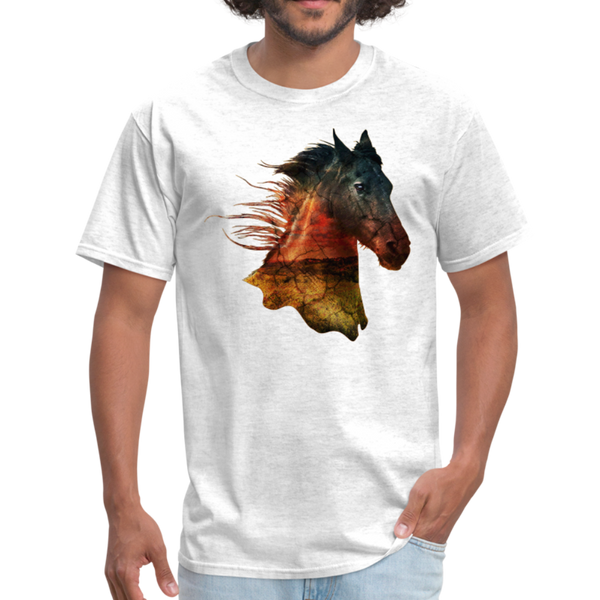Horse t-shirt - Animal Face T-Shirt - light heather grey