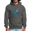 Shark Jumping Hoodie - Animal Face Hoodie - charcoal gray