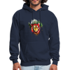Tiger with Moon Hoodie - Animal Face Hoodie - navy