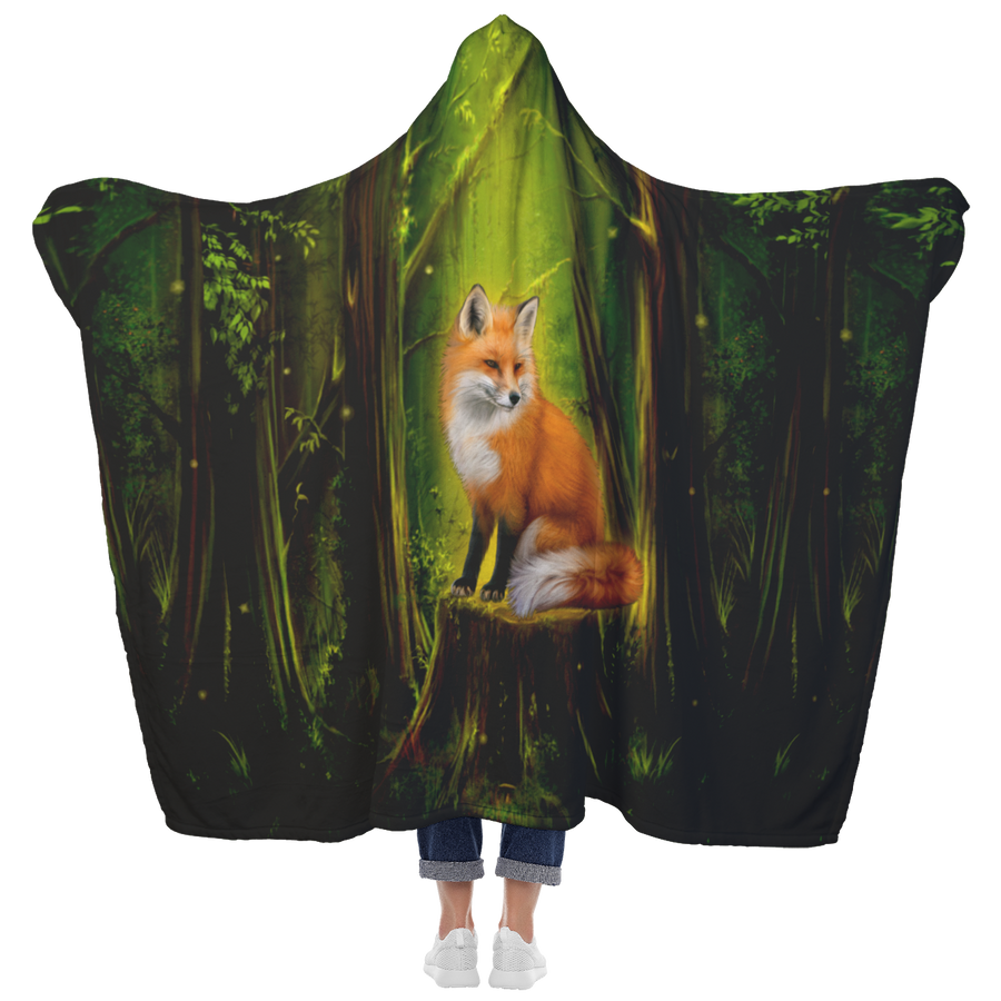 Fox in forest Hooded Blanket
