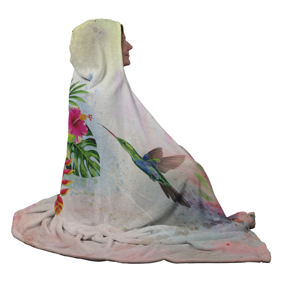 Feeding Hummingbirds Hooded Blanket