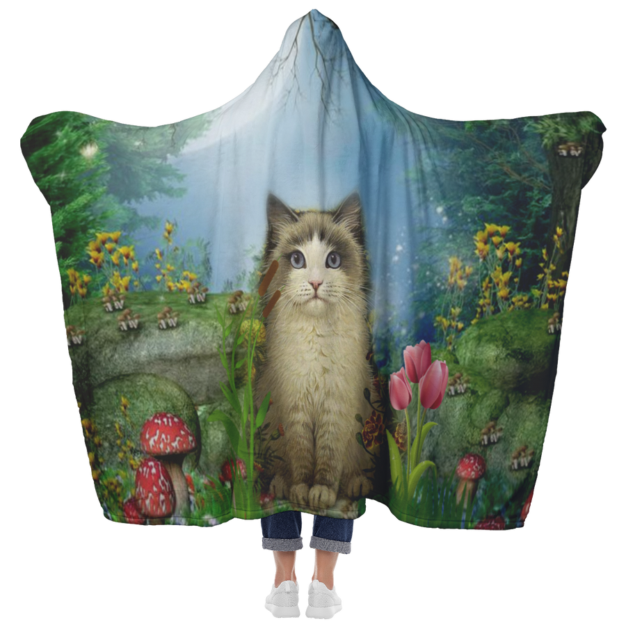 Cat in forest Hooded Blanket