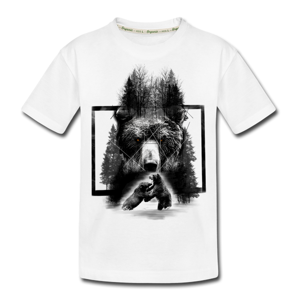 Bear Fighting Kid's Premium Organic T-Shirt - white