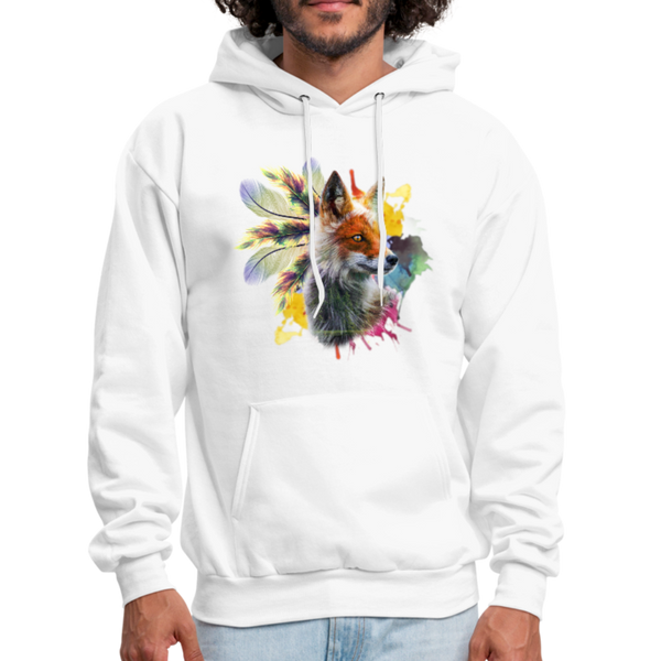 Fox and Feathers Men's Hoodie - white