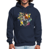 Fox and Feathers Men's Hoodie - navy