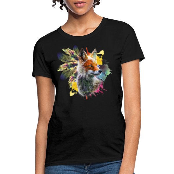 Fox and Feathers Women's T-Shirt - black