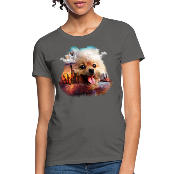 Pomeranian Dog Women's T-Shirt - charcoal