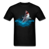 Jumping great white shark t-shirt - Animal Face T-Shirt - black