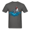 Jumping great white shark t-shirt - Animal Face T-Shirt - charcoal
