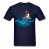 Jumping great white shark t-shirt - Animal Face T-Shirt - navy