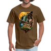 Wolves and Moon Men's T-Shirt - brown