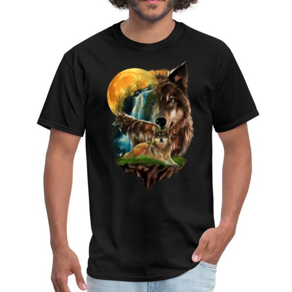 Wolves and Moon Men's T-Shirt - black