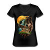 Wolves and Moon Women's V-Neck T-Shirt - black