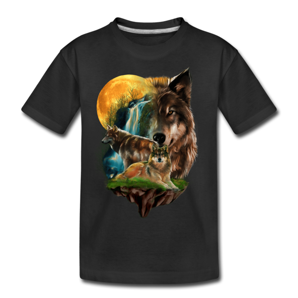 Wolves and Moon Kid's Premium Organic T-Shirt - black