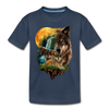 Wolves and Moon Kid's Premium Organic T-Shirt - navy