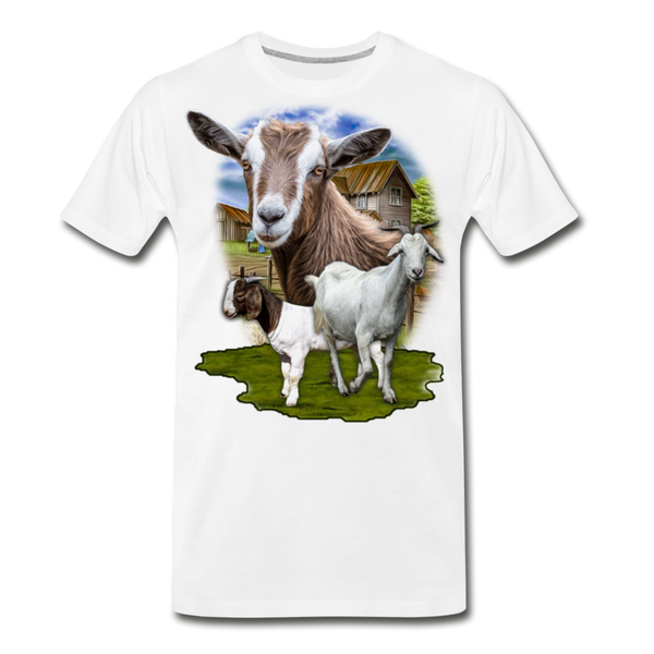 Goat Men's Premium Organic T-Shirt - white