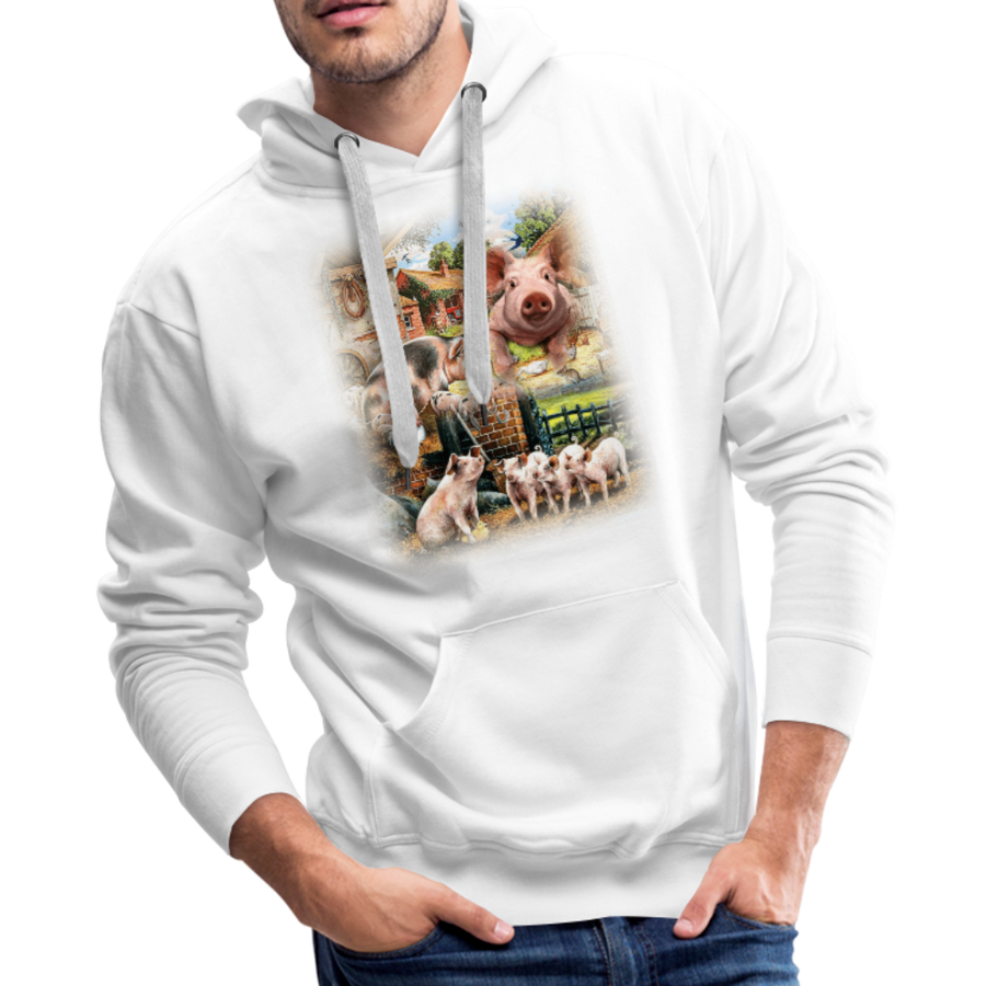 Farm Pigs Men's Premium Hoodie - white