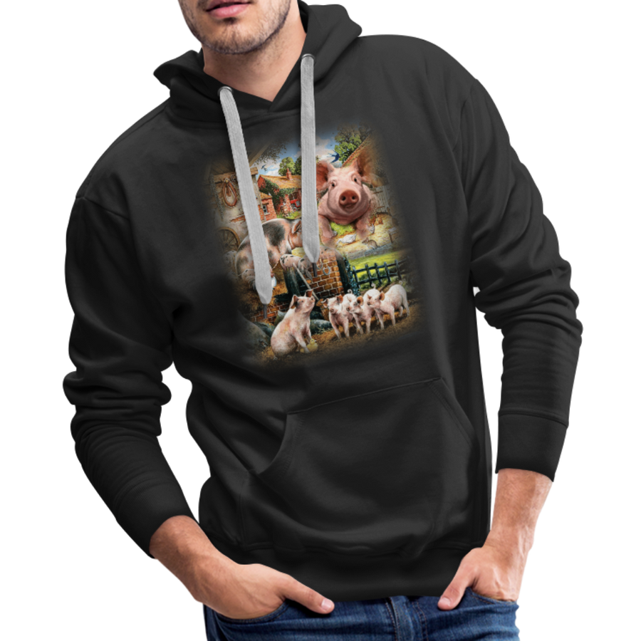 Farm Pigs Men's Premium Hoodie - black