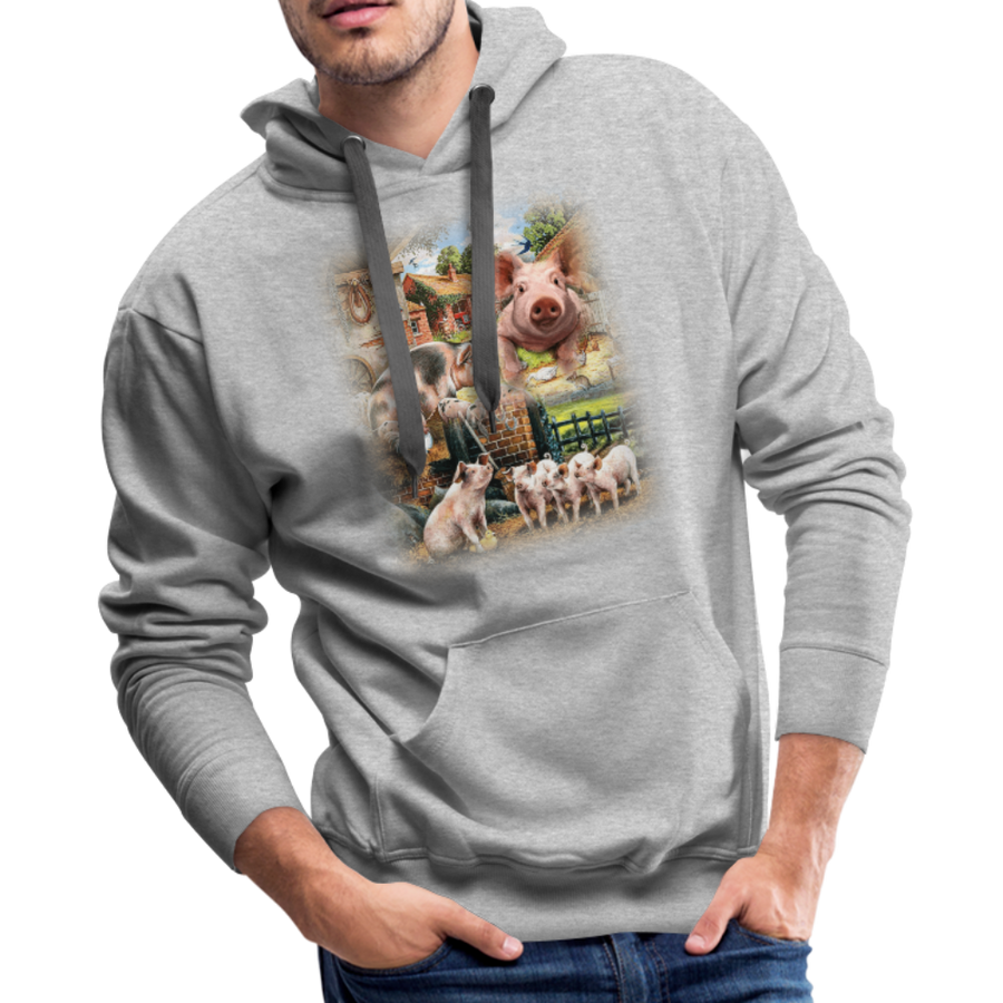 Farm Pigs Men's Premium Hoodie - heather gray
