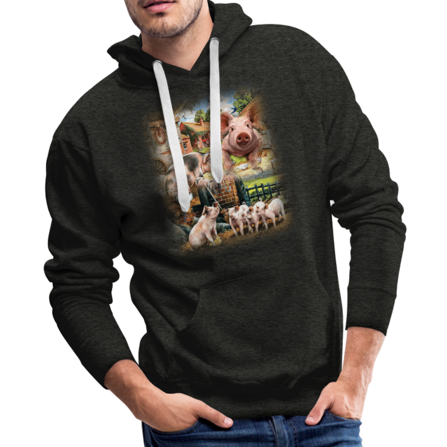 Farm Pigs Men's Premium Hoodie - charcoal gray